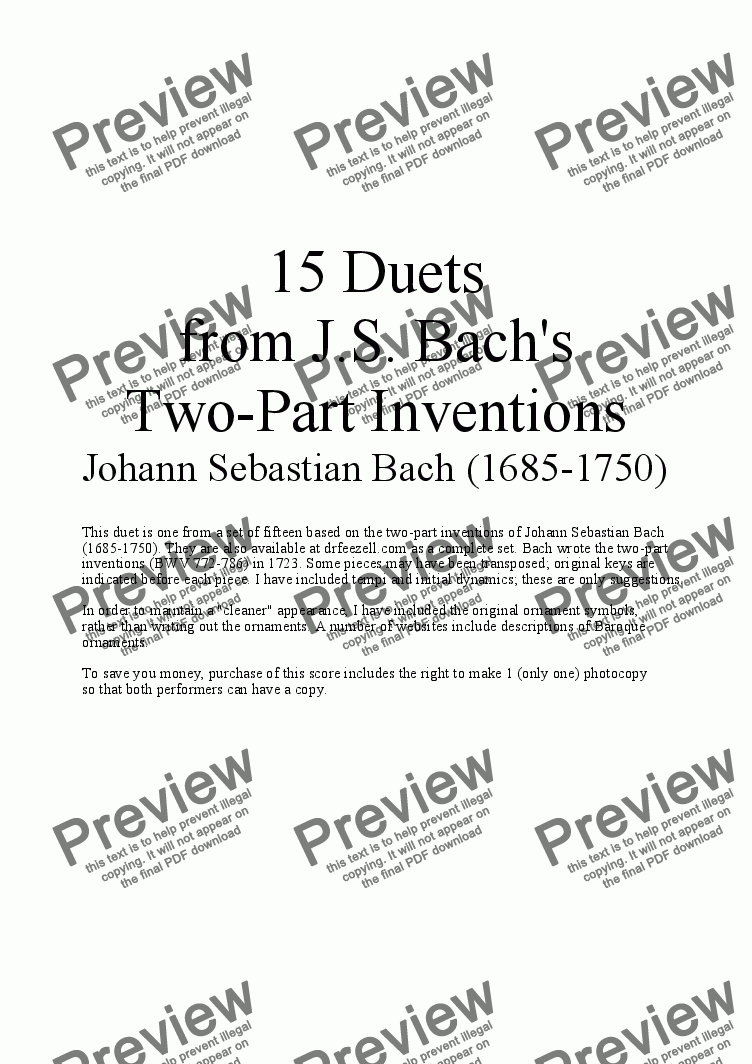 page one of Bach's Two-part Invention No. 2 (arr. for Flute and Cello)