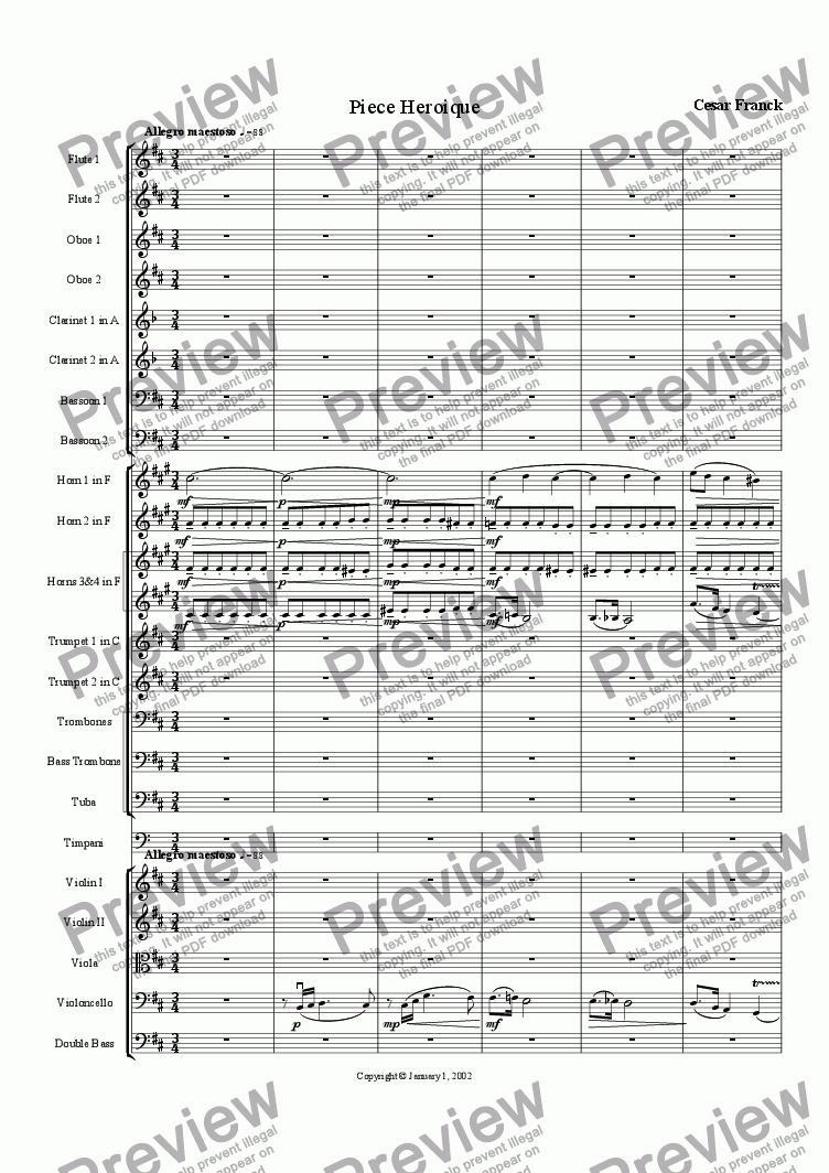 page one of Cesar Franck: Piece Heroique arranged for orchestra