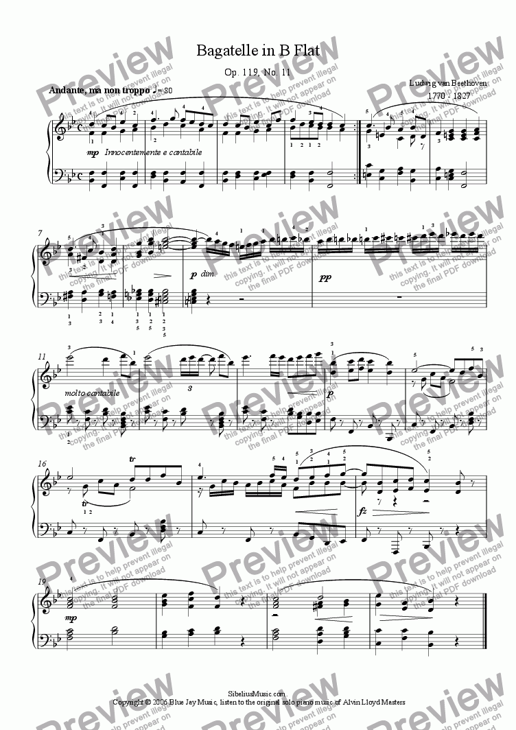 page one of Beethoven's Bagatelle in B Flat , Op.119, No. 11
