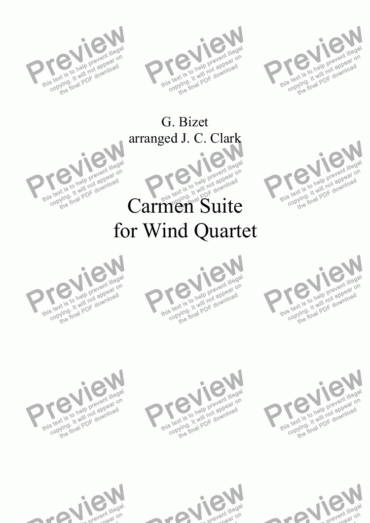 page one of Carmen Suite for Wind Quartet