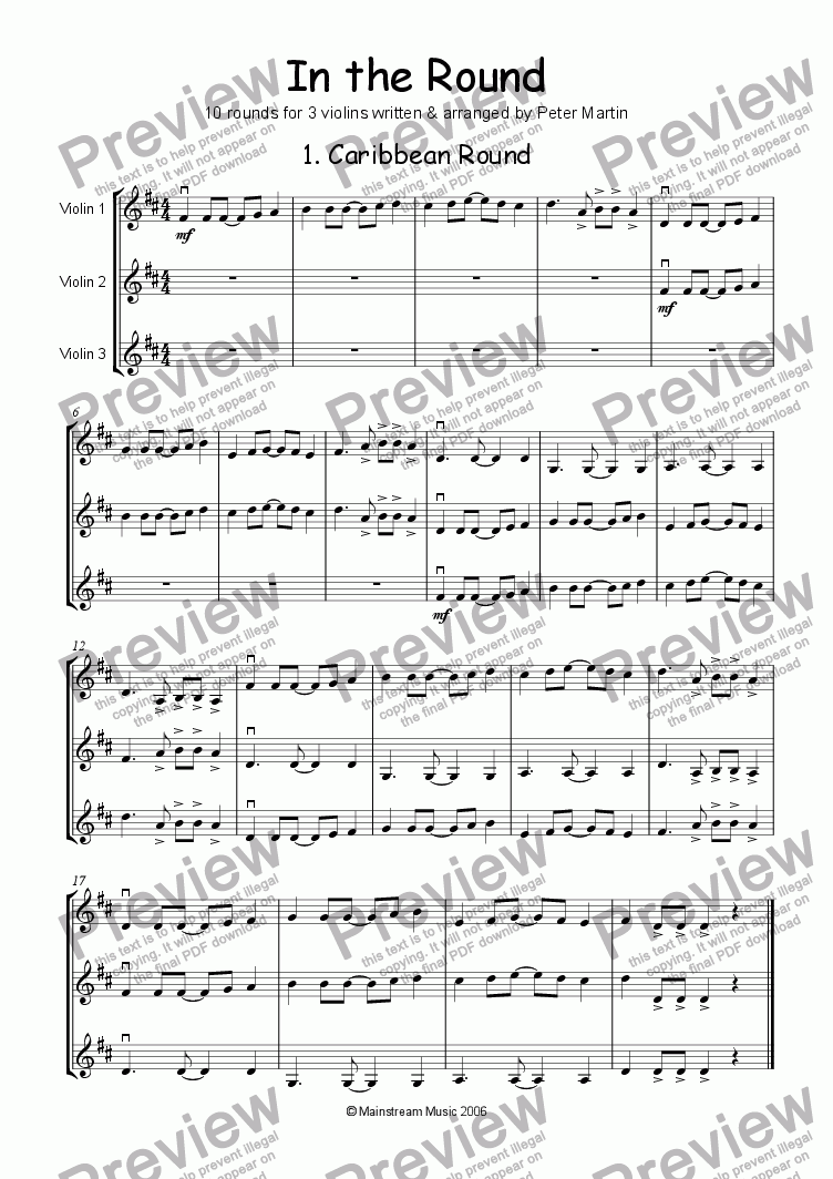 page one of In the Round - Violin