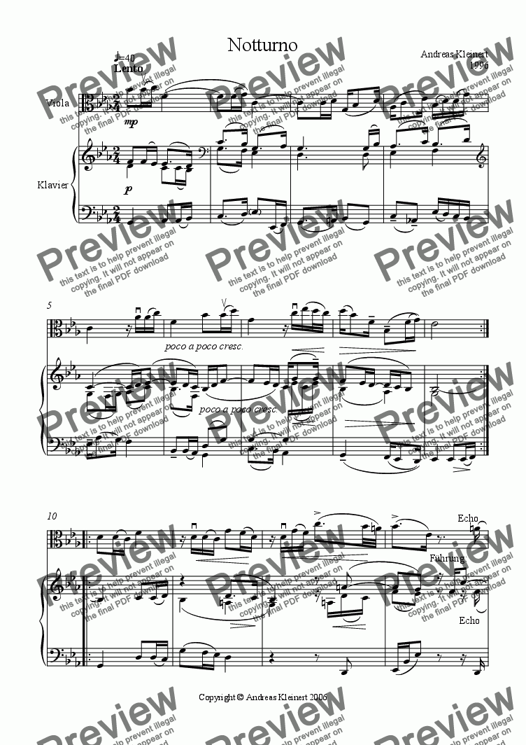 page one of Notturno for viola and piano