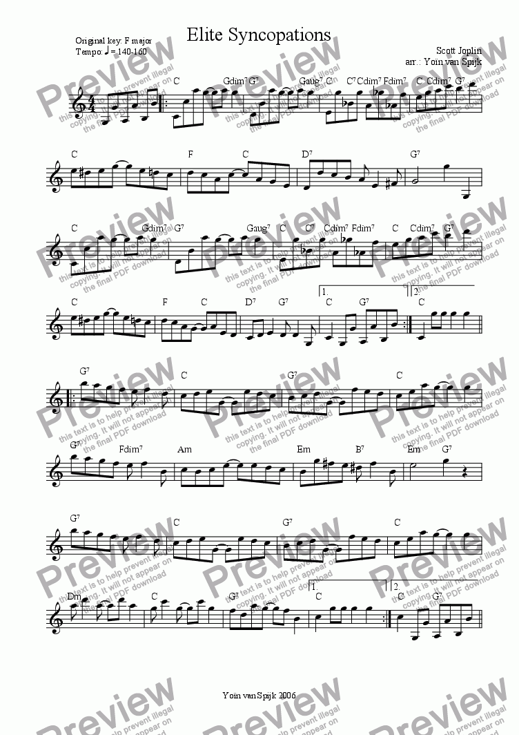 page one of Elite Syncopations - Lead Sheet