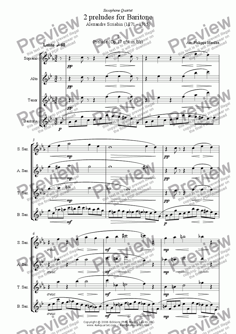 page one of Scriabin - 2 preludes for sax quartet
