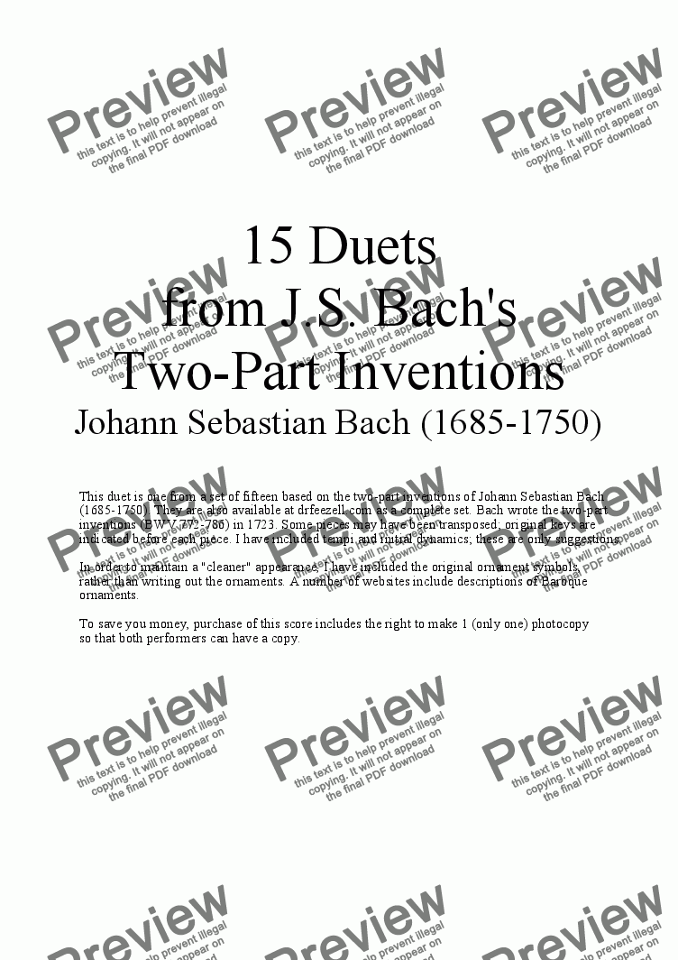page one of Bach's Two-part Invention No. 5 (arr. for Violin and Cello)