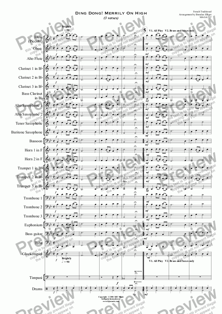 page one of Ding Dong ! Merrily On High (Christmas) - Concert Band