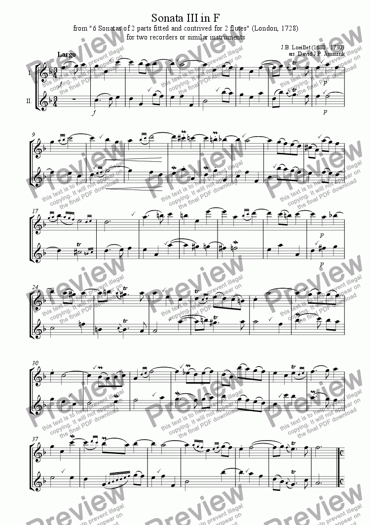 page one of Sonata III in F for two treble recorders