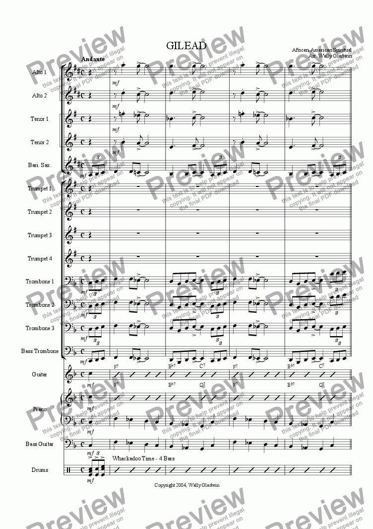 page one of Gilead (Big Band)