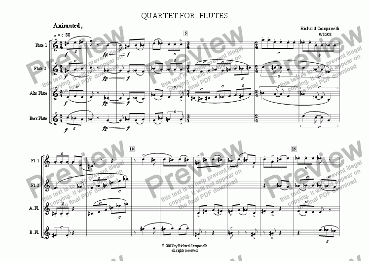 page one of QUARTET FOR FLUTES