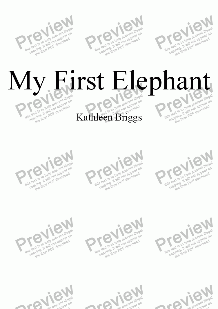 page one of My First Elephant