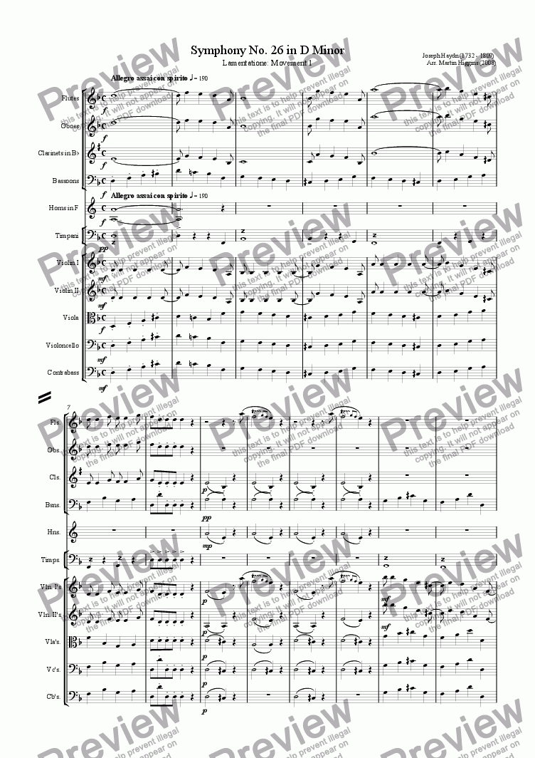page one of Haydn: Symphony No. 26 in D Minor Movement 1: Lamentatione