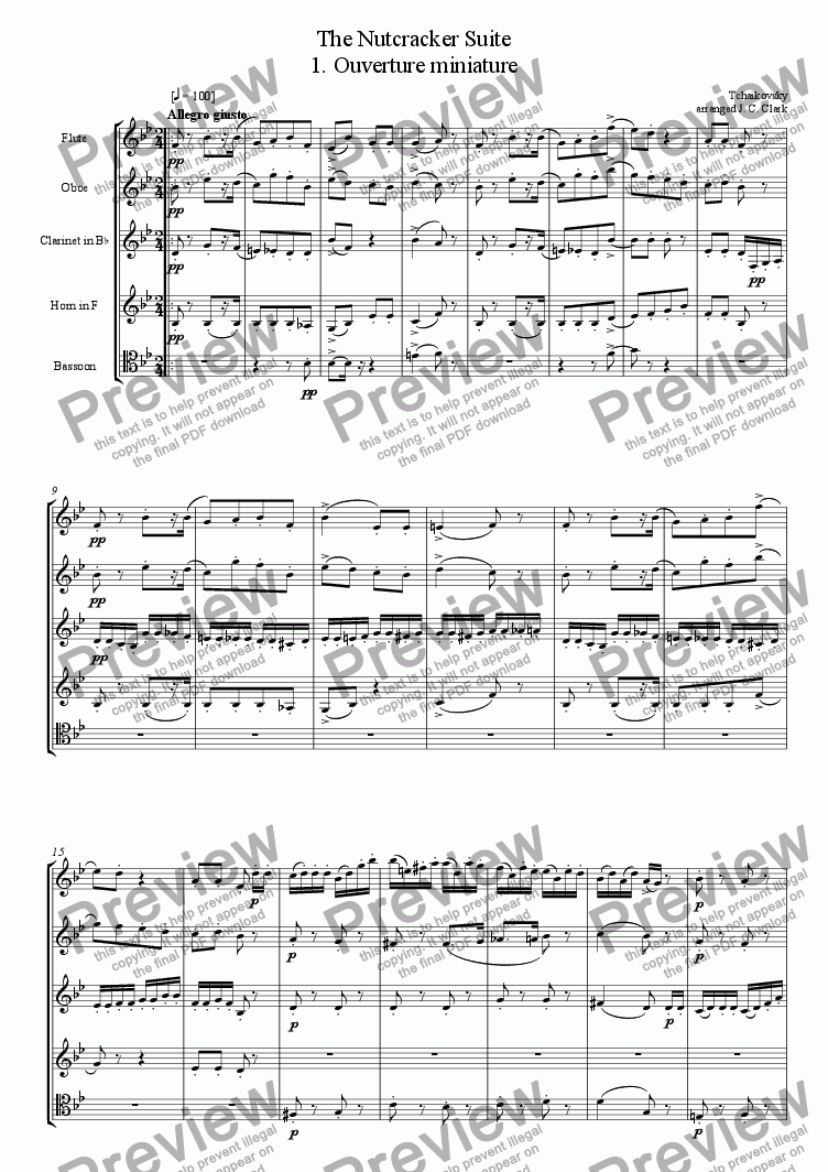 page one of The Nutcracker Suite for Wind Quintet