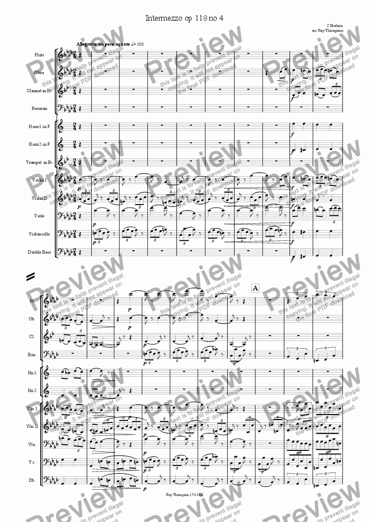 page one of Intermezzo from Six Piano Pieces Op118 no 4