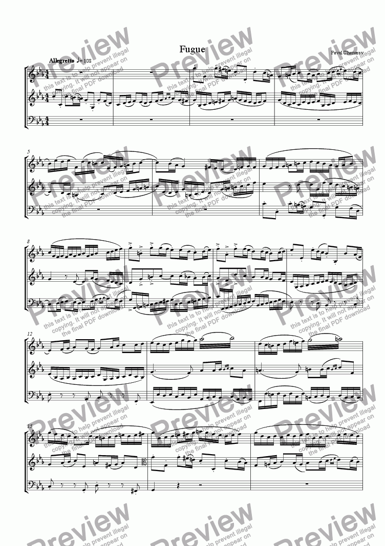 page one of Fugue No. 1 in C Minor