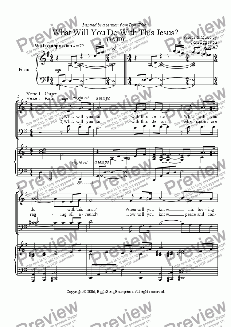 page one of What Will You Do With This Jesus? (SATB)