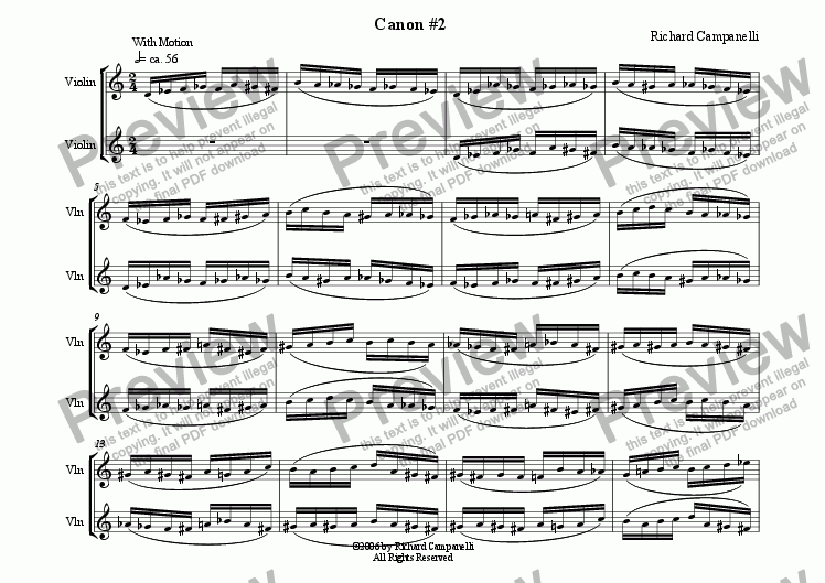 page one of Canon #2 From 12 Canons for 2 Violins