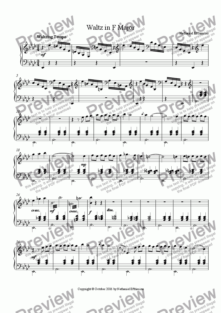 page one of Waltz in F Major