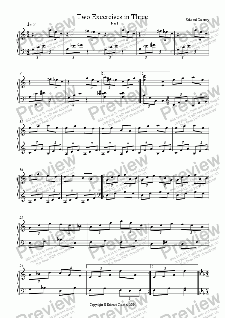page one of Two excercises in three