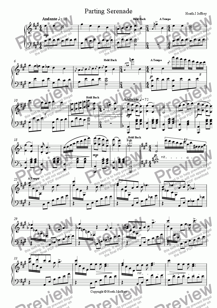 page one of Parting Serenade