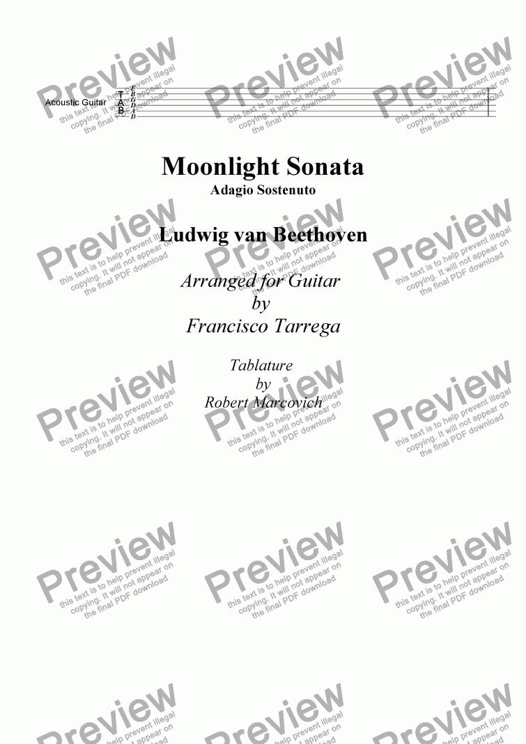Moonlight Sonata Beethoven Tarrega arr Guitar with Tab – Beethoven Worksheet