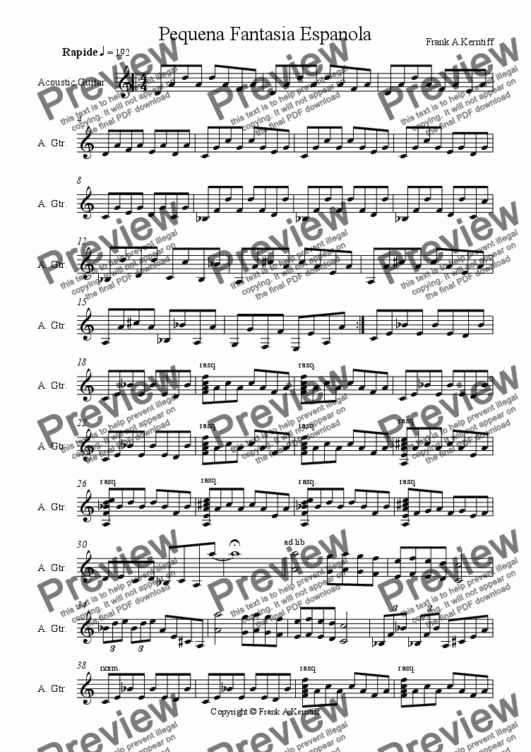 page one of Pequena fantasia Espanola