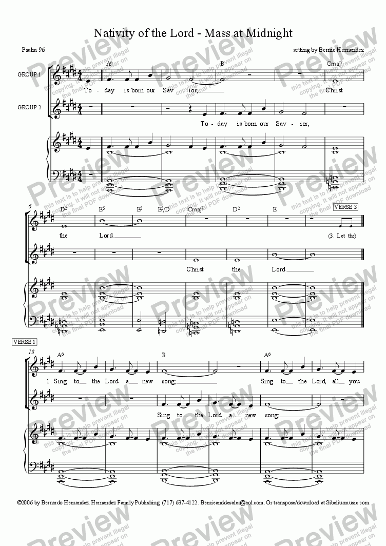 page one of Responsorial Psalm - Christmas - Mass at Midnight