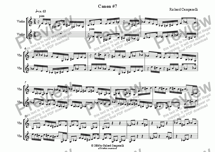 page one of Canon #7 from 12 Canons for 2 Violins
