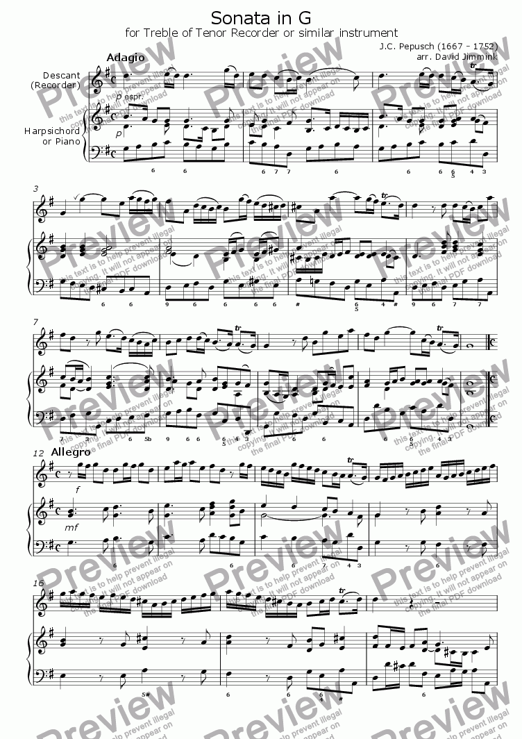 page one of Sonata in G