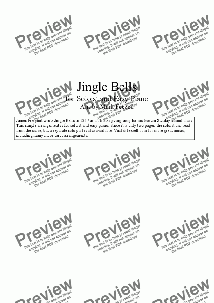 page one of Jingle Bells (Tenor Sax/Saxophone Solo and Piano)