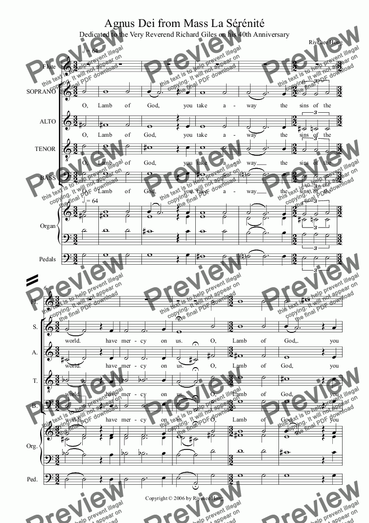 page one of Agnus Dei from Mass La S�r�nit�