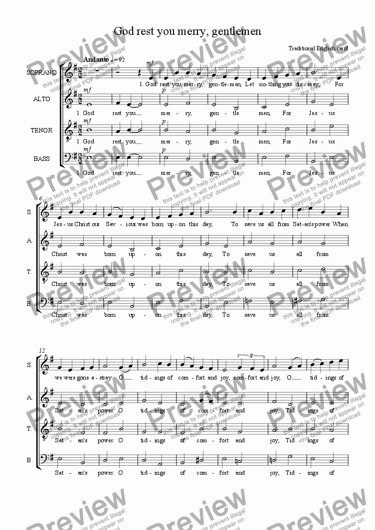 page one of God rest you merry, gentlemen (SATB)