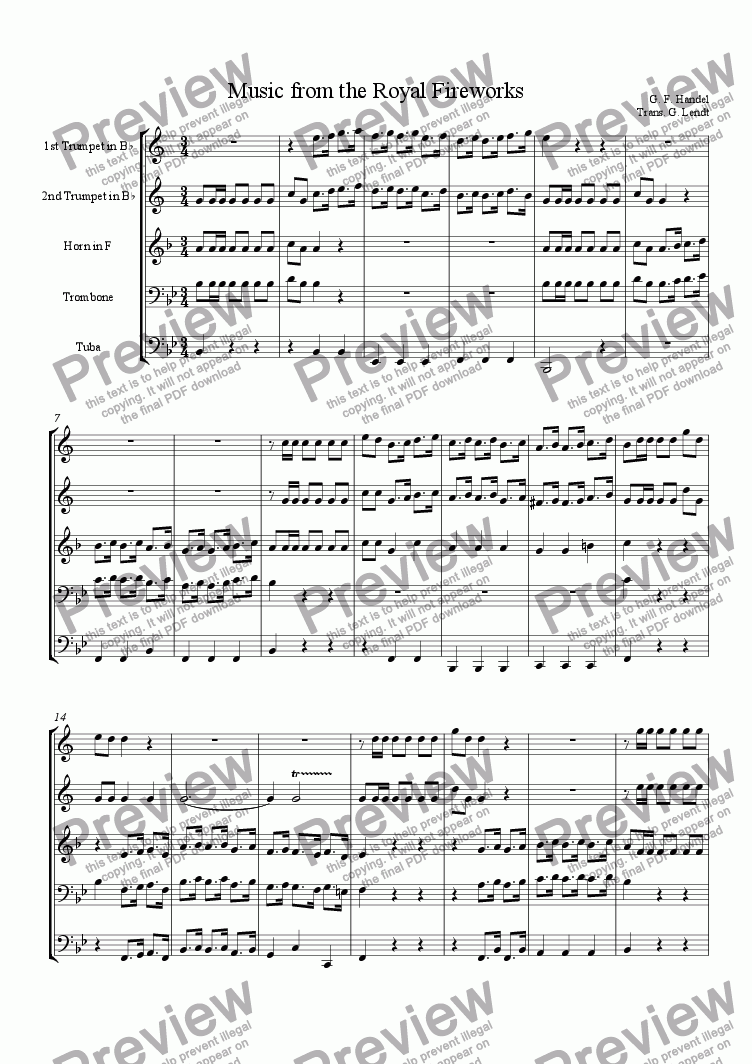 page one of Music from Royal Fireworks