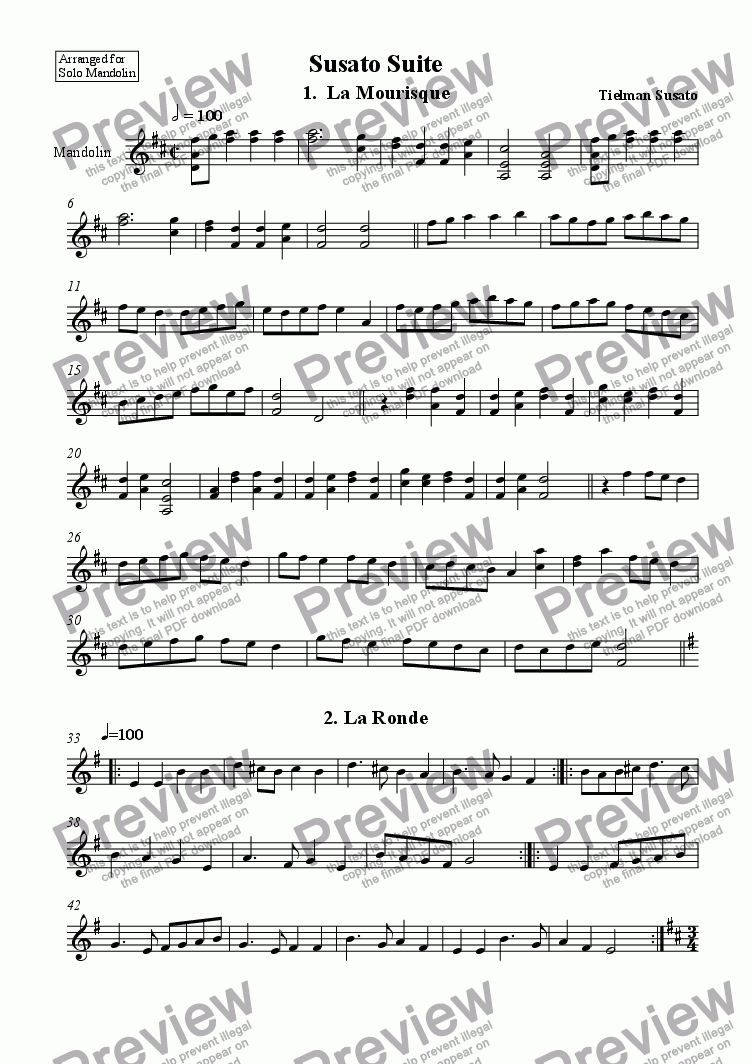page one of Suite of Dances arr for Solo Mandolin