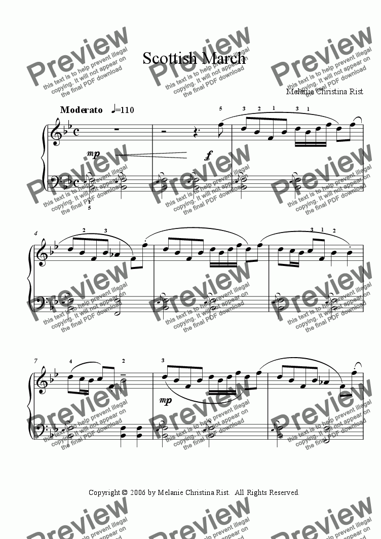 page one of Scottish March (piano, by Melanie C. Rist)