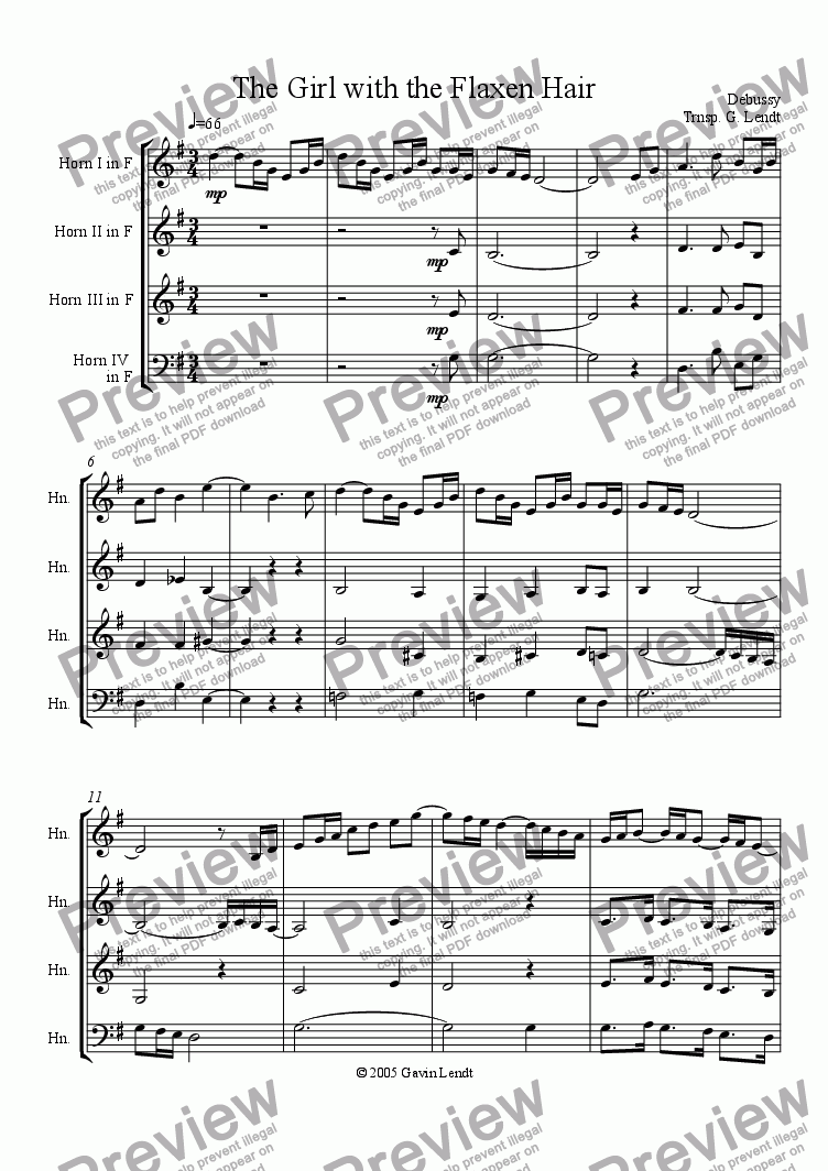 page one of Girl With the Flaxen Hair (Horn Quartet)