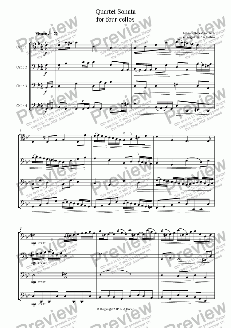 page one of Bach - QUARTET SONATA - for cello quartet