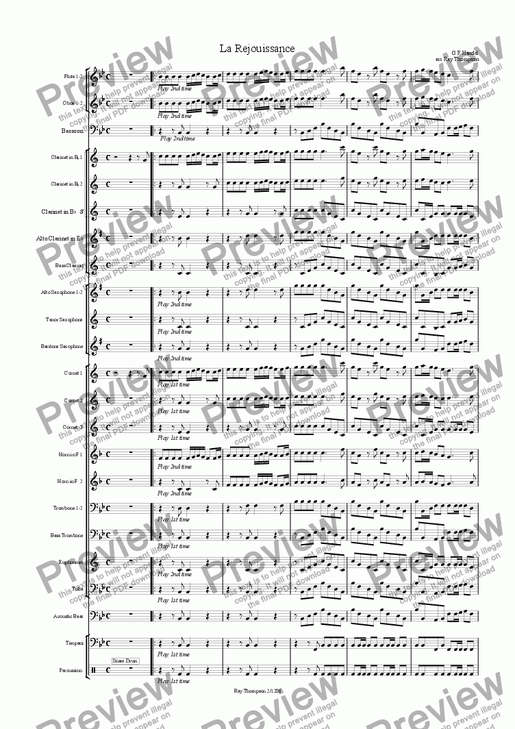 page one of Handel: La Rejouissance from The Music for the Royal Fireworks (Feuerwerksmusik) - concert band