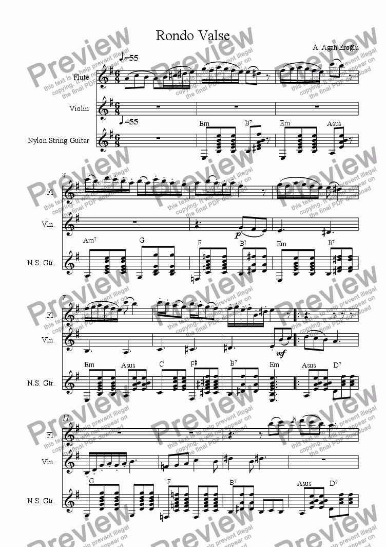 page one of Rondo Valse for Flute, Violin and Guitar