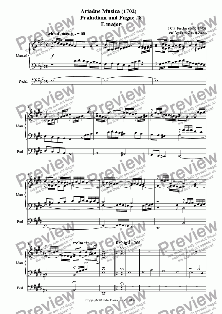 page one of Ariadne Musica (1702) - Praludium und Fugue # 8 in E minor