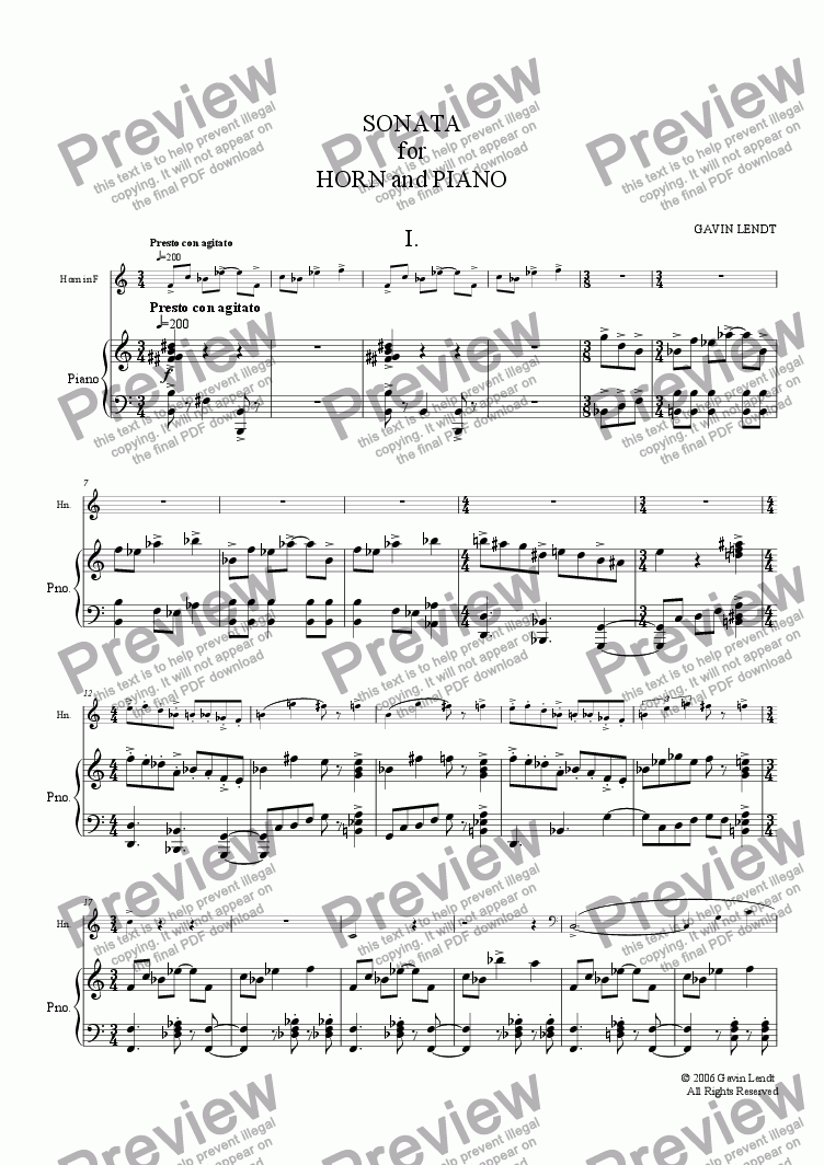 page one of Sonata for Horn and Piano, Movement One