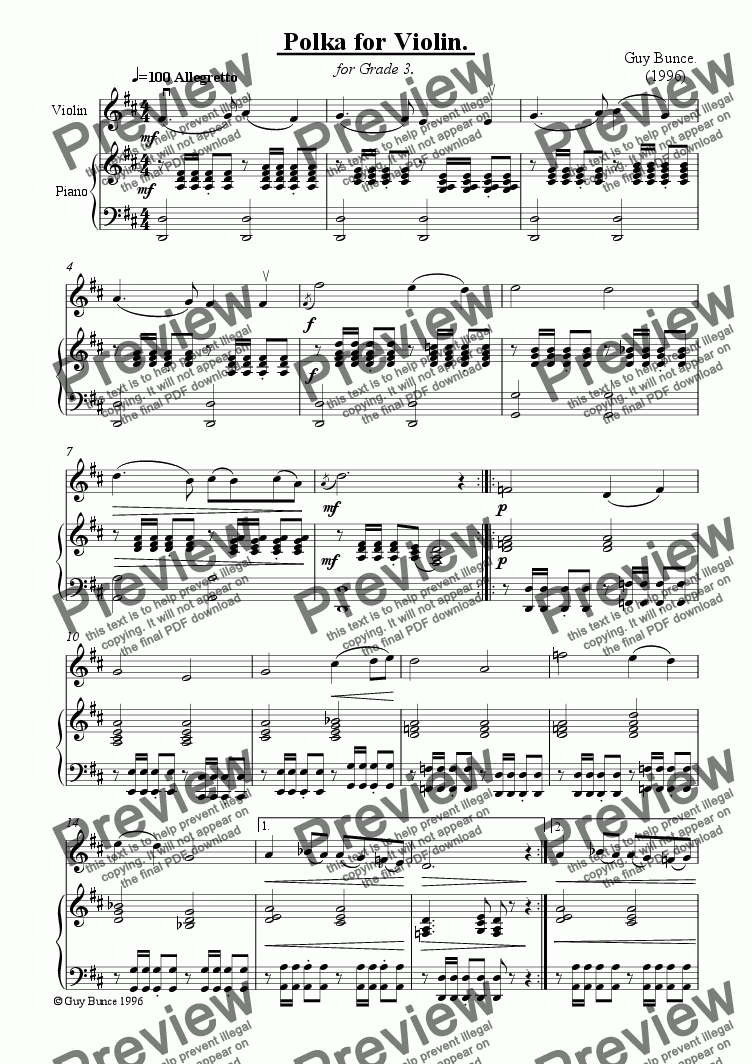 page one of Polka for Violin