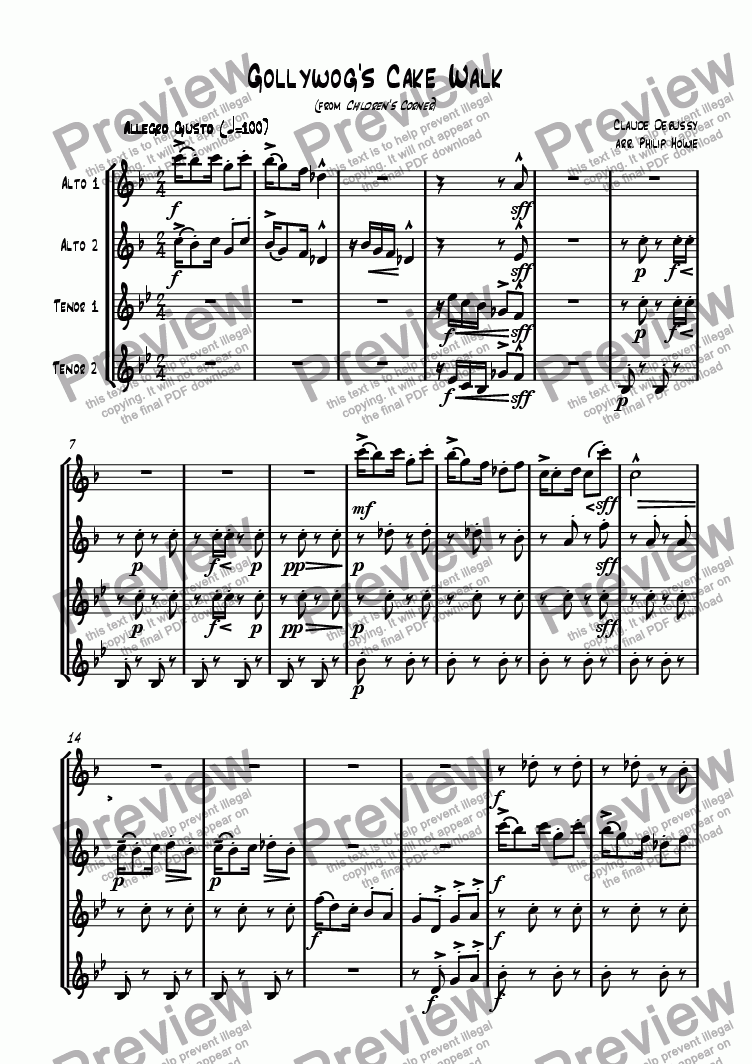 page one of Gollywog's Cakewalk (AATT Saxes)
