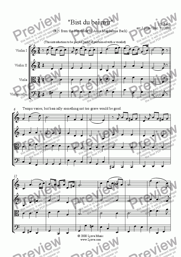 Bist Du Bei Mir From The Notebook Of Anna Magdalena Bach For String Quartet By Js Bach Sheet Music Pdf File To Download