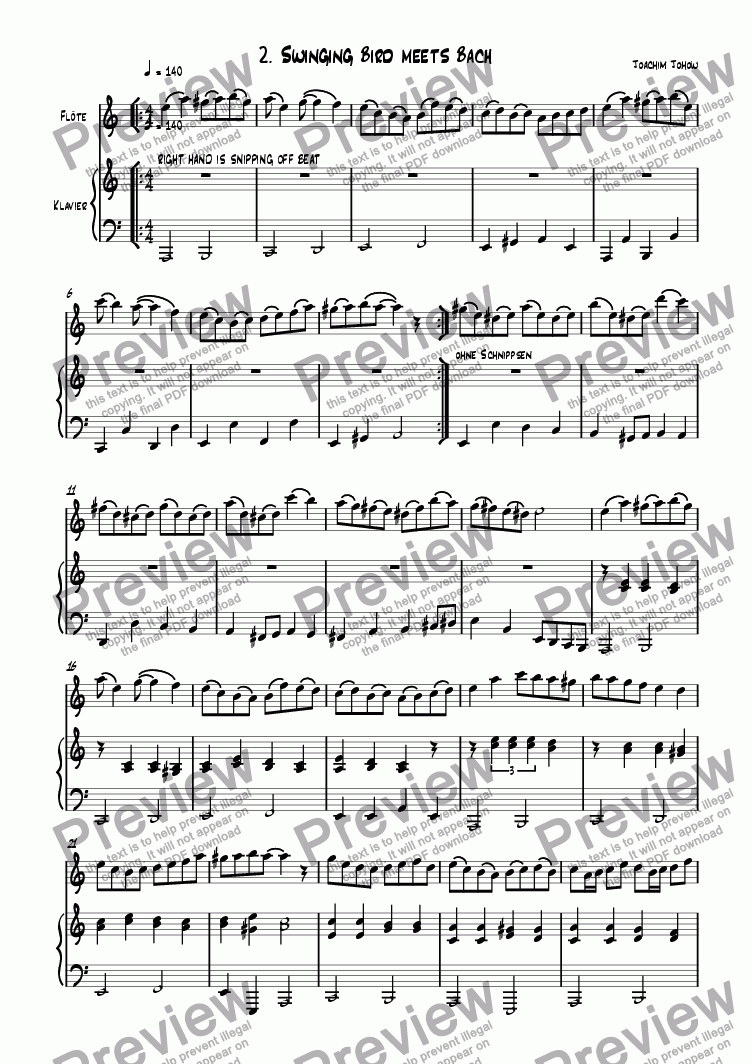 page one of Flute book 02 (Swinging Bird meets Bach)