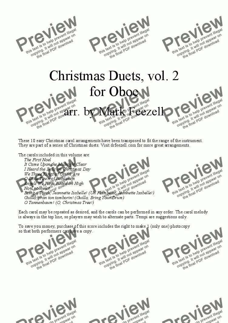 page one of Christmas Carols (Oboe Duets), Vol. 2