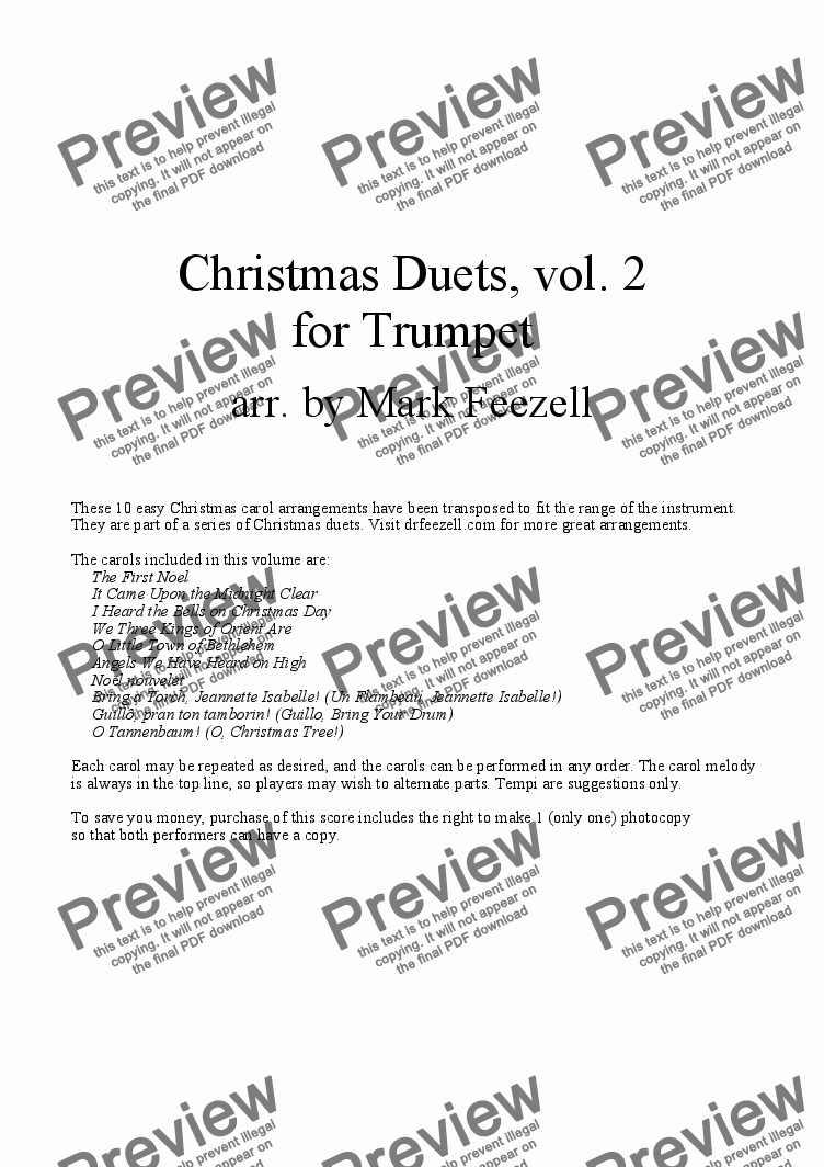page one of Christmas Carols (Trumpet Duets), Vol. 2