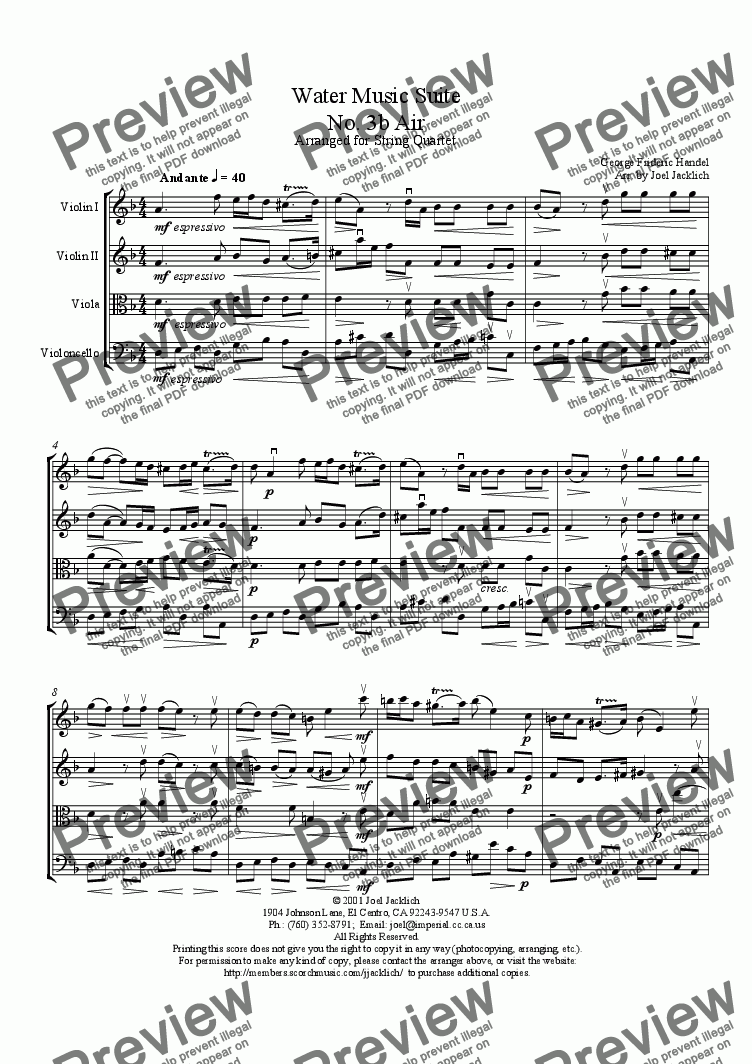 page one of Water Music Suite, No. 3b, Air (d min.)