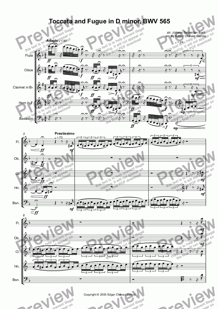 page one of Toccata y Fuga en d, BWV 565
