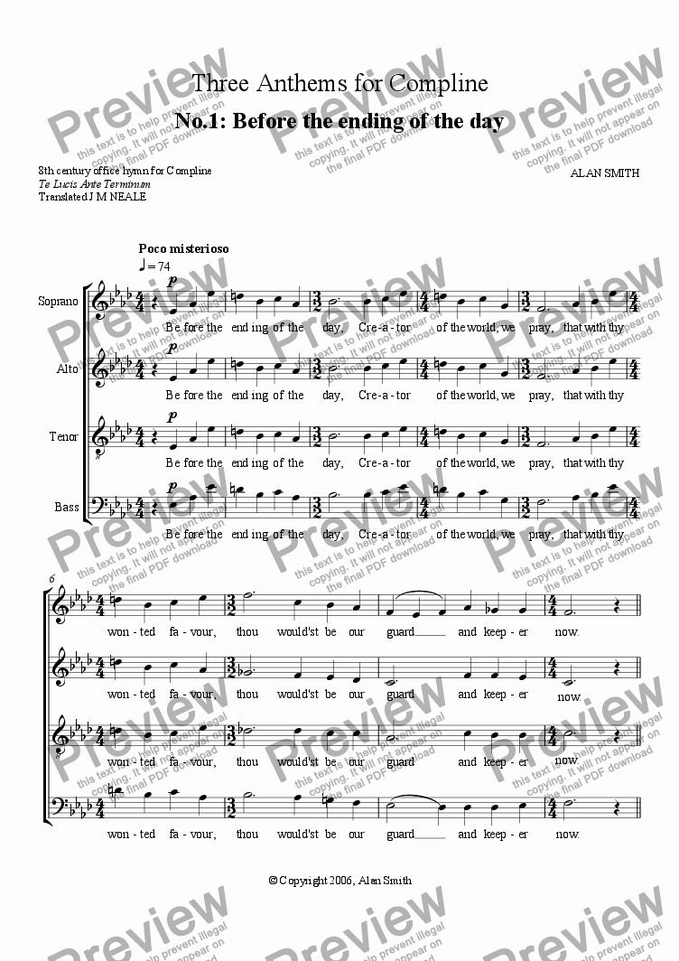 page one of Three Anthems for Compline - No.1 Before the ending of the Day