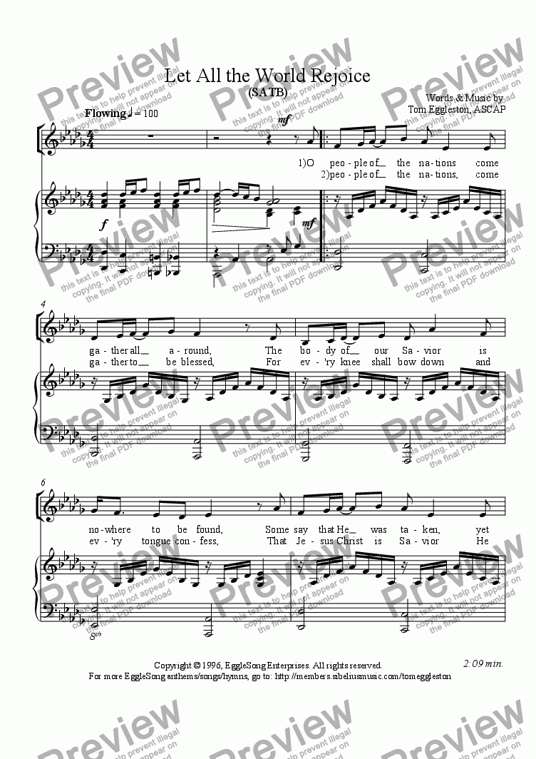 page one of Let All the World Rejoice - SATB